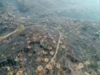 अंबरनाथमधील मंगरूळ डोंगरावरील वणव्याचे ड्रोन कॅमेऱ्यात टिपलेले दृश्य