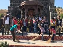 विश्रामगडावर बालकांनी राबविली स्वच्छता मोहीम