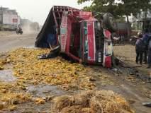 मालवाहू ट्रकची संत्र्याच्या गाडीला धडक