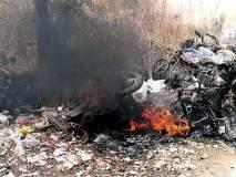 जामखेडमध्ये भंगारमधील दुचाकी गाड्यांना आग