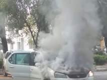 बीड जिल्हाधिकारी कार्यालय परिसरात उभी कार पेटली