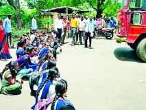 निमणी परिसरातील विद्यार्थ्यांचे बस रोको आंदोलन