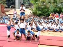 रत्नागिरी : शारीरिक कवायतींसह विद्यार्थ्यांनी रचले मनोरे, ३५० विद्यार्थ्यांचे सूर्यनमस्कार