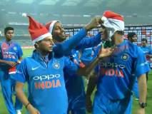 VIDEO : मुंबईतील विजयानंतर टीम इंडियाचे ख्रिसमस सेलिब्रेशन, धोनी झाला सांता