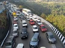 एक्सप्रेस-वे सलग दुस-या दिवशी 'स्लो', मुंबईकडे जाणारी वाहने एक तासाच्या अंतराने सोडणार