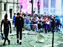 विश्वविजेतेपदाच्या रंगाचा बेरंग, दुकानांची तोडफोड करून केली लूटमार