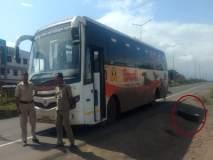 घारगाव परिसरात शिवशाही बसचे चाक निखळले; चौदा प्रवासी बचावले