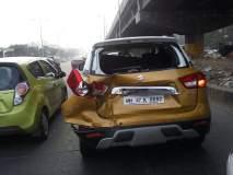 मुंबई - जोगेश्वरी-विक्रोळी लिंक रोडवर वाहनांचा विचित्र अपघात