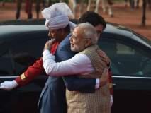 पंतप्रधान नरेंद्र मोदी व कॅनडाचे पंतप्रधान जस्टीन ट्रुडो यांची गळाभेट