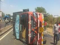गोलटगाव फाट्यावर ट्रक उलटला, चालक जखमी
