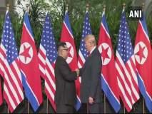 Kim-Trump Summit : ऐतिहासिक दिवस…. डोनाल्ड ट्रम्प यांनी घेतली किम जोंग उन यांची भेट