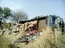 वाशिम : किन्हीराजाजवळ कांदा घेवून जाणारा ट्रक उलटला; ट्रकचालक गंभीर
