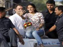 राहुल गांधींसोबत सेल्फी काढण्यासाठी 'ती' चढली गाडीच्या टपावर