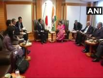 परराष्ट्रमंत्री सुषमा स्वराज यांनी घेतली जपानी पदाधिकाऱ्यांची भेट