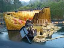 ठाण्यात घोडबंदर रोडवर ऑइल कंटेनर उलटल्यानं वाहतूक कोंडी