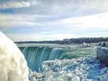 नायगरा धबधबा गोठला बर्फाने, स्वर्गासारखंं दृश्य पाहायला पर्यटकांची वाढती गर्दी