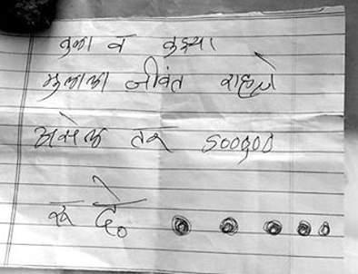 5 lakhs ransom to Gramsevak demanded by Chittha | चिठ्ठीद्वारे मागितली ग्रामसेवकाकडे पाच लाखांची खंडणी