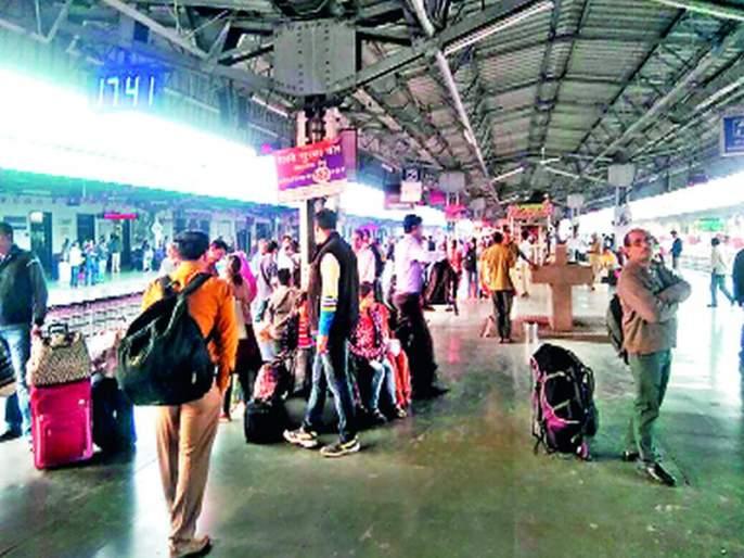 Traffic rush at the railway station | रेल्वेस्थानकावर प्रवाशांची तोबा गर्दी