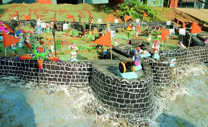 Students from Nagpur, creates Sindhudurg Fort   नागपुरातील विद्यार्थ्यांनी साकारला शिवरायांचा सागरी अलंकार सिंधूदुर्ग