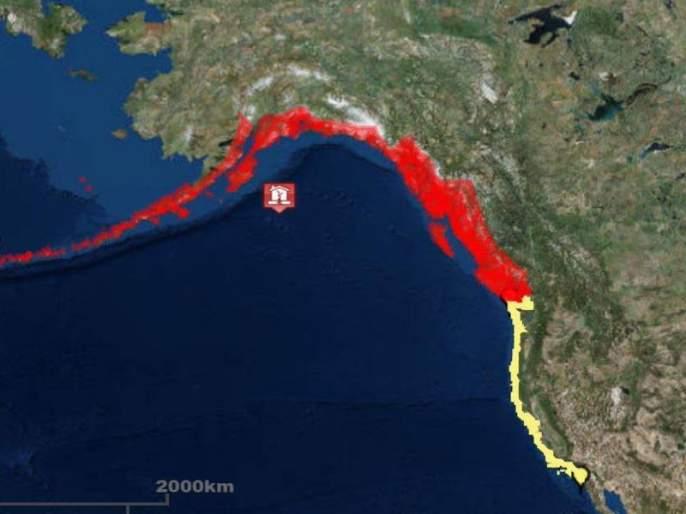 A 8.2 earthquake with a Richter scale earthquake, Al Qaeda's Alaska Island | अमेरिकेच्या अलास्का बेटाला 8.2 रिश्टर स्केल तीव्रतेचा भूकंप, त्सुनामीचा इशारा