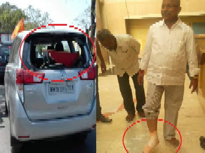 MLA Vijay Otyi was on the feet of a member of the Zilla Parishad to walk out of the wheel   जिल्हा परिषद सदस्याच्या पायावर आमदार विजय औटींच्या गाडीचे चाक गेल्याने झाली दगडफेक