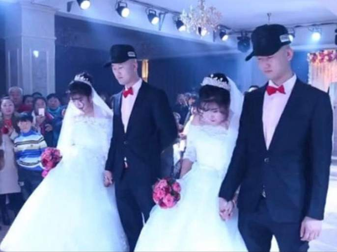two twins boys married two twin girls in china , video viral on social media | चीनमध्ये दोन जुळे अडकले जुळ्यांशी लग्नबंधनात, व्हिडीयो नेटवर व्हायरल