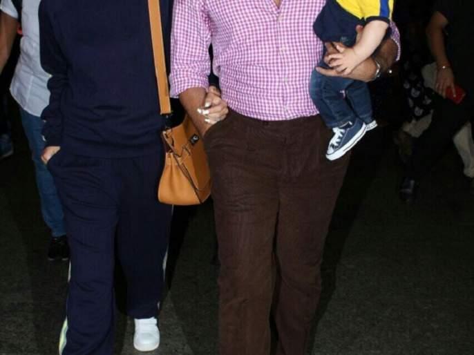 Tiger Ali Khan returns with his first foreign trip with Mom-Dad   मॉम-डॅडसोबत पहिल्या फॉरेन ट्रीपवरून परतला तैमूर अली खान!