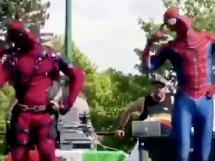 """The song """"Khali Bali"""" by Padma Vatkar and Spider Man and DeadPull, see the video!   'पद्मावत'च्या 'खली बली' या गाण्यावर स्पायडर मॅन अन् डेडपूलने धरला ठेका, पाहा व्हिडीओ!"""