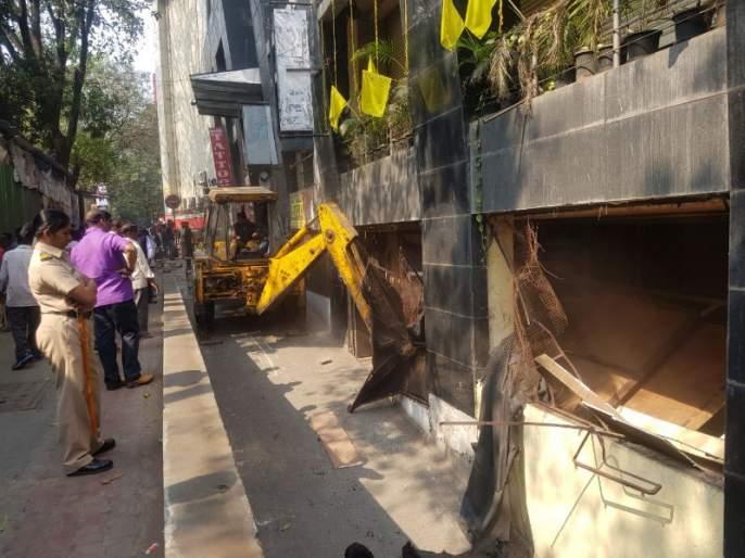 Action taken by Pune Municipal Corporation on unauthorized construction of Shivaji Nagar, Apte road | शिवाजीनगर, आपटे रस्ता येथील अनधिकृत बांधकामांवर पुणे महापालिकेची कारवाई