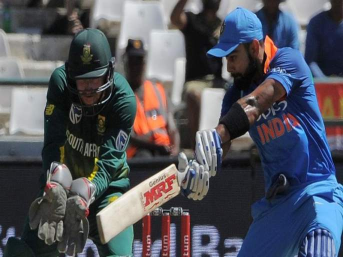 Virat Kohli hits century! | कोहलीचे विराट दीडशतक! भारताचे दक्षिण आफ्रिकेसमोर 304 धावांचे आव्हान
