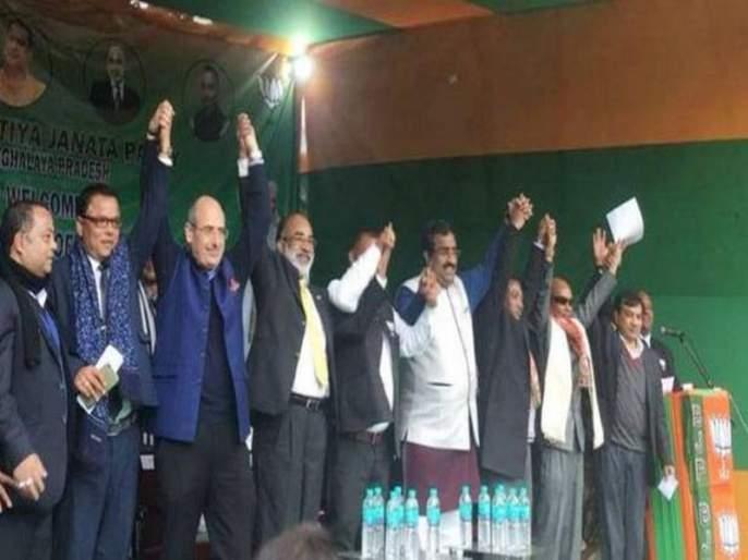 Congress sweeps in Meghalaya, four MLAs enter BJP | मेघालयात काँग्रेसला झटका, चार आमदारांचा भाजपात प्रवेश