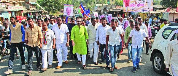 Protests in Pakistan's Magura Ridge - MNS Front: Request for Humiliation of Kulbhushan Jadhav Family, with Bheemiputra of Jawli Taluk   पाकिस्तानी मग्रुरीचा मेढ्यात निषेध -मनसेचा मोर्चा : जावळी तालुक्याचे भूमिपुत्र असणाऱ्या कुलभूषण जाधव कुटुंबीयांच्या अपमानप्रकरणी निवेदन