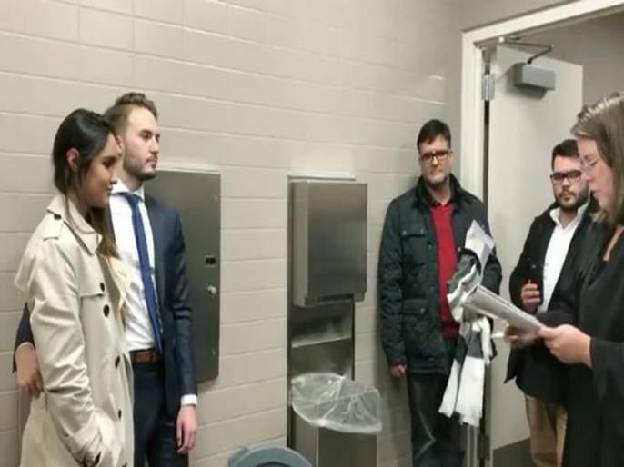 Couple get married in a toilet while groom's mother is given oxygen by medical crew | तशी वेळ आली होती... म्हणून या जोडप्याने केलं टॉयलेटमध्ये लग्न