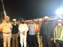ठाण्यातील कोपरी रेल्वे पुलावर चार लोखंडी तुळई बसविण्याचे काम पूर्ण - Marathi News | Four iron beams have been installed on the Kopari railway bridge in Thane | Latest thane News at Lokmat.com