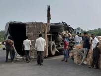 मुंबई-आग्रा महामार्गावर ट्रक उलटून अपघात सोनगीर