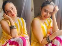 अमृता खानविलकरचे हे फोटो पाहून तुम्हीही पडाल प्रेमात, सौंदर्य, अदा आणि स्टाइलचा सुरेख मिलाप - Marathi News | Amruta Khanvilkar looks Stunning in This Yellow Saree; See Pics | Latest marathi-cinema Photos at Lokmat.com
