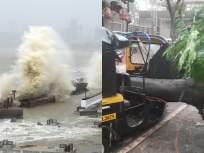 Tauktae Cyclone : तौत्के चक्रीवादळाचं आक्राळ-विक्राळ रुप, झाडे उन्मळून पडली अन् समुदात उसळल्या लाटा - Marathi News | Tauktae Cyclone: Cyclone Tauktee Cyclone, Trees Uprooted and Waves Raised in Community | Latest mumbai Photos at Lokmat.com