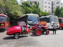 एसटीच्या मुंबई सेंट्रल डेपोत ट्रॅकरद्वारे सॅनिटायझर फवारणी - Marathi News | Sanitizer sprayer by Mumbai Central Depot Tracker, ST | Latest mumbai News at Lokmat.com