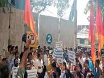 गिरगावात शिवसेनेचं मेट्रो, डीबी रिअॅलिटीविरोधात आंदोलन