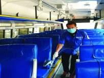 अखेर एसटीची बस धुतली; एसटीच्या कर्मचाऱ्यांकडून सॅनिटायझरचा वापर सुरू - Marathi News | Finally ST bus washed; Use of sanitizer by ST staff | Latest mumbai News at Lokmat.com