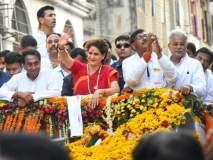 व्हिडिओ : रोड शोमध्ये 'मोदी-मोदी'च्या घोषणा; प्रियंका गांधींनी गाडी थांबवून असं दिलं उत्तर