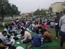पायऱ्यांवर आणि बागेत बसून हजारो विद्यार्थ्यांनी दिली परीक्षा