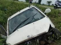 खामगाव-चिखली मार्गावर कार उलटली; दोन ठार; तीन जखमी