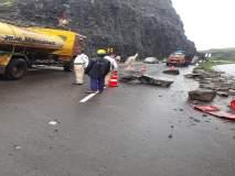 नाशिक-पुणे महामार्गावरील चंदनापुरी घाटात दरड कोसळली; वाहतूक विस्कळीत
