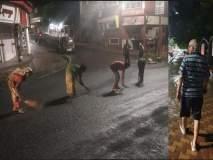 रस्त्यांच्या दुरुस्तीच्या कामाची पहाणी करण्यासाठी विरोधी पक्ष नेते भररात्री रस्त्यावर