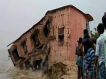 गंगा नदीच्या पात्रात शाळेची इमारत कोसळली