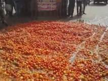 लाल चिखल! बिहारमधील शेतकऱ्यांनी रस्त्यावर फेकले टोमॅटो