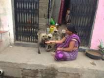 'त्या' भरवितात भुकेल्या माकडांना हाताने अन्न