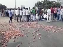 मुंबई-आग्रा महामार्गावर मालेगावजवळ कांदा आंदोलकांचा रास्ता रोको