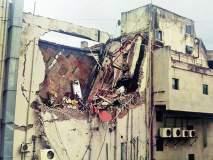 पोकलेनने पूनम आयनॉक्स मॉलचा जीर्ण भाग तोडला